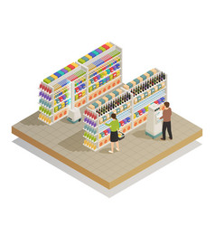 supermarket automated technologies isometric vector image