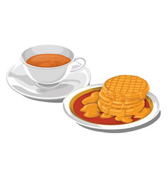Teacup with pancakes for breakfast vector