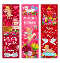 valentine day love hearts flowers and angels vector image