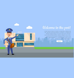 Welcome to the post web banner with postman vector