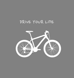White bicycle on grey background with text vector