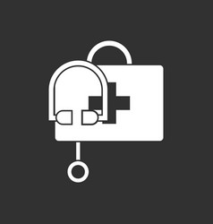 White icon on black background first aid bag vector
