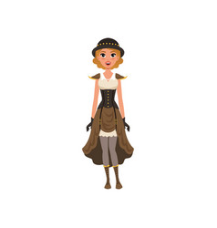 Woman in fancy steampunk clothing young girl in vector