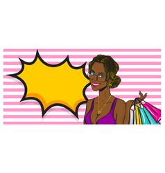 wow face summer black afro girl pop art vector image