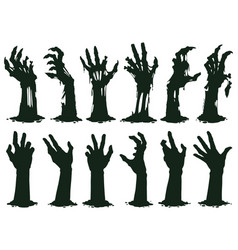 zombie hands silhouette creepy crooked vector image