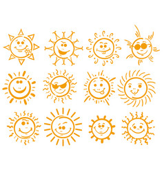 doodle sun icons on white vector image