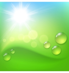 Green abstract background with drop of dew and sun vector