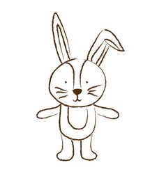 monochrome hand drawn silhouette of bunny vector image vector image