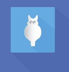 owl icon with shadows on blue background vector image vector image