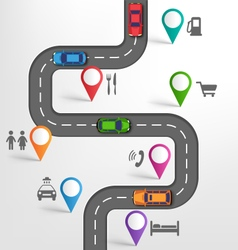 Road Infographic Travel Background with Pointers vector image