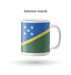 Solomon islands flag souvenir mug on white vector
