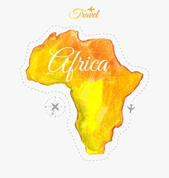 Travel around the world Africa Watercolor map vector image