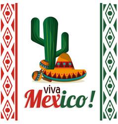viva mexico - cactus maracas and hat vector image