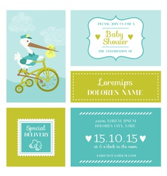 Baby Shower or Arrival Card with Stork vector image vector image