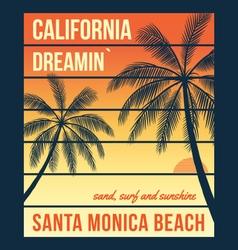 california t shirt graphics with palms santa vector image vector image