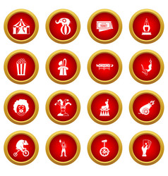 Circus entertainment icon red circle set vector