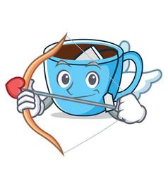 cupid tea cup character cartoon vector image