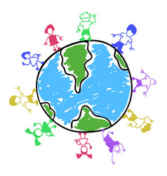 doodle color kids around the world vector image vector image