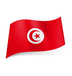 National flag of tunisia crescent moon and star vector