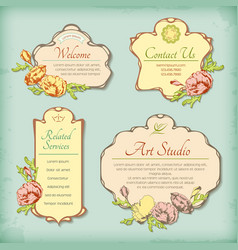 Set of vintage antique styled labels with flowers vector image vector image
