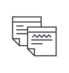 sticker notes line icon sign vector image