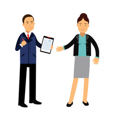 two colleagues speaking together about documents vector image vector image