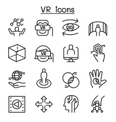vr virtual technology icon set in thin line style vector image vector image
