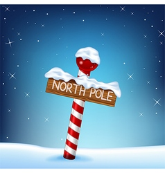 A Christmas of a north pole wooden si vector image vector image