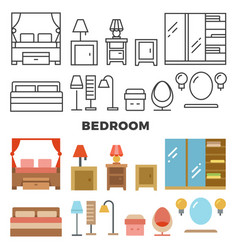 Bedroom furniture and accessories collection - vector