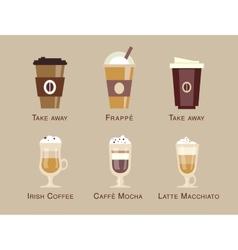 Coffee icon set menu coffee beverages types vector