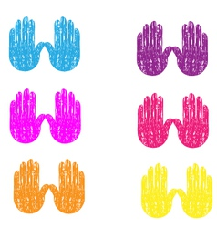 Colored grunge vintage hands vector image vector image