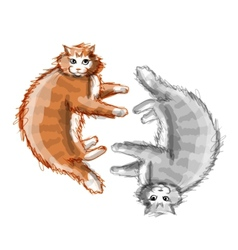 Cute orange and grey cats sketch for your design vector image vector image