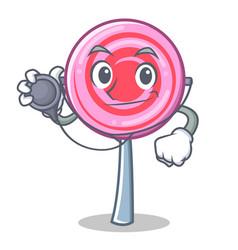 doctor cute lollipop character cartoon vector image