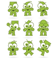 funny green cartoons vector image vector image