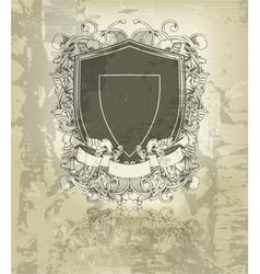 grunge floral emblem vector image vector image