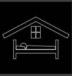 man in bed hotel the white path icon vector image vector image