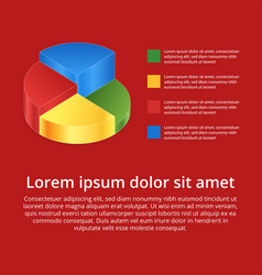 pie chart on isolated background isometric pie vector image