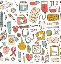Seamless health care and medicine sketch pattern vector image
