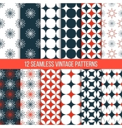 seamless vintage patterns set vector image