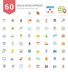 Set of Full Color SEO and Development icons vector image
