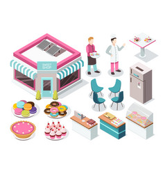 sweet shop isometric set vector image