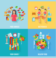 Diet 4 flat icons square banner vector image vector image