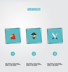 flat icons corsair macaw sword and other vector image vector image