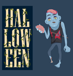 halloween night and zombie vector image