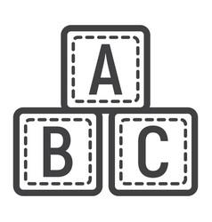 Abc blocks line icon alphabet cubes and education vector
