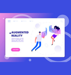 augmented reality concept persons in vr headsets vector image