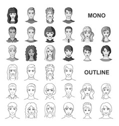 avatar and face monochrom icons in set collection vector image