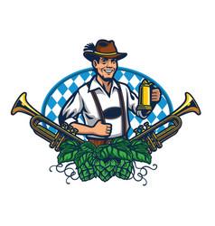 Bavarian man badge for oktoberfest vector