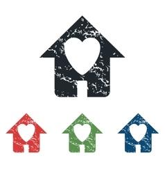 Beloved house grunge icon set vector