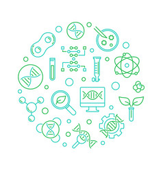 Biotechnology or biotech green line round vector